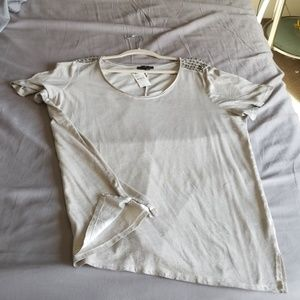 V Neck tee with decorative silver beads